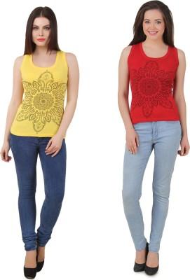 Yati Casual Sleeveless Printed Women's Red, Yellow Top