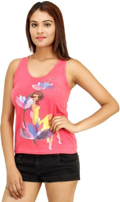 Opiumstreet Casual Sleeveless Printed Women's Pink Top