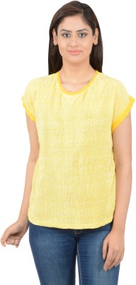 Merch21 Casual Short Sleeve Solid Women's Yellow Top