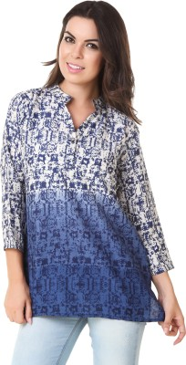 ASH Party 3/4 Sleeve Printed Women's Blue Top