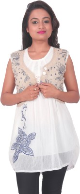 PurpleYou Casual Sleeveless Printed Women's White Top