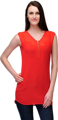 Fashionwalk Casual Sleeveless Solid Women's Red Top