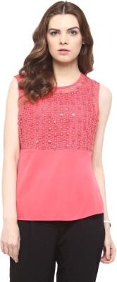 The Office Walk Formal Sleeveless Solid Women's Pink Top