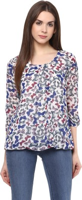 color cocktail Casual 3/4 Sleeve Printed Women's Blue Top