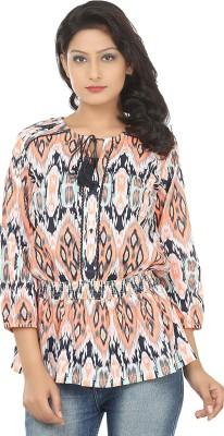 Adhaans Casual 3/4 Sleeve Printed Women's Blue, Orange Top
