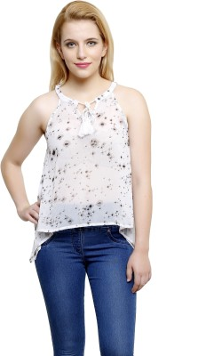 I Am For You Casual Sleeveless Printed Women's White Top