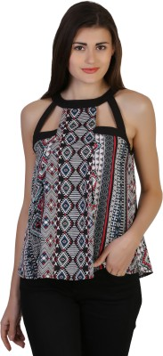 Belle Fille Casual Sleeveless Printed Women's White Top at flipkart