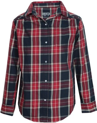 Gini & Jony Casual Full Sleeve Checkered Girl's Red Top