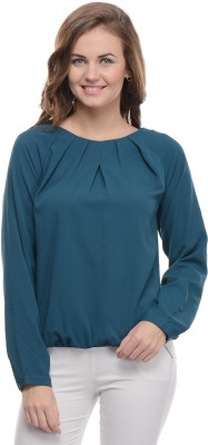 Moderno Casual Full Sleeve Solid Women's Blue Top