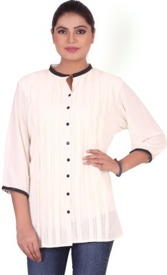 Pink Nine Casual 3/4 Sleeve Solid, Embellished Women's White Top