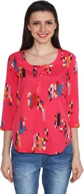 Eva De Moda Casual 3/4 Sleeve Printed Women's Red Top