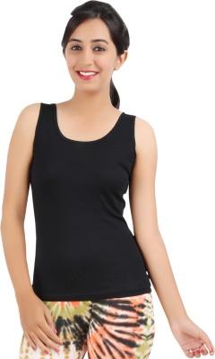 Rham Gold Casual Sleeveless Solid Women's Black Top