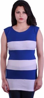 James Scot Formal Sleeveless Striped Women's Blue Top