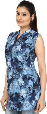Fashion Cult Casual Sleeveless Floral Print Women's Blue Top