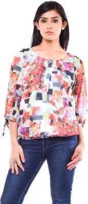 French Creations Casual 3/4 Sleeve Printed Women's Multicolor Top