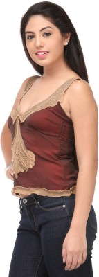 Cappadocia Casual Sleeveless Self Design Women's Maroon Top