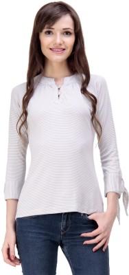 Ebry Casual 3/4 Sleeve Striped Women's White Top