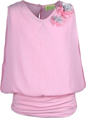 Cutecumber Party Sleeveless Embellished Girl's Pink Top