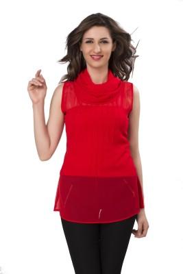 IshinDesignerStudio Casual Sleeveless Solid Women's Red Top