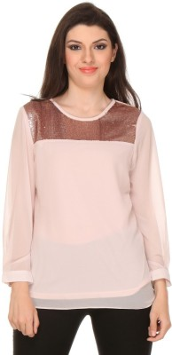 Oyshi Party Full Sleeve Embellished Women's Pink Top