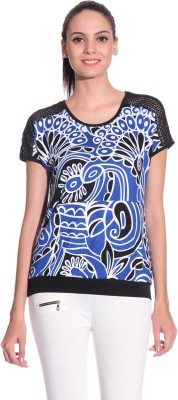 Styleava Casual Short Sleeve Solid Women's Blue Top