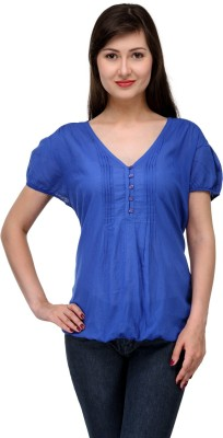India Inc Casual Short Sleeve Solid Women's Blue Top