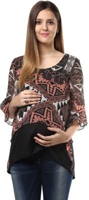 Mine4Nine Casual 3/4 Sleeve Geometric Print Women's Multicolor Top