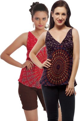 Indi Bargain Casual, Party, Formal, Beach Wear Sleeveless Printed, Floral Print Women's Purple, Red Top