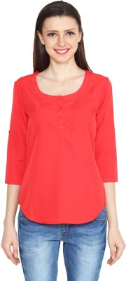 Eva De Moda Casual 3/4 Sleeve Solid Women's Orange Top