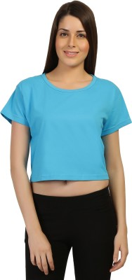 Threadz Casual Short Sleeve Solid Women,s Blue Top