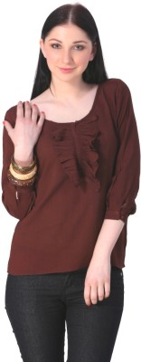 Rediscover Fashion Casual 3/4 Sleeve Solid Women's Brown Top