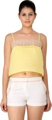 StyleToss Casual Sleeveless Solid Women's Yellow Top
