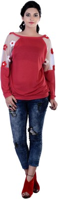 Divaz Fashion Casual, Party Full Sleeve Solid Women's Red Top