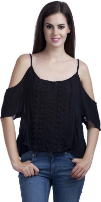MansiCollections Casual Noodle strap Solid Women's Black Top
