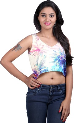 Midnight Casual, Lounge Wear, Party Sleeveless Printed Women,s Multicolor Top