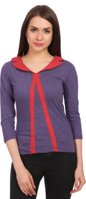 Legona Casual 3/4 Sleeve Solid Women's Light Blue, Red Top