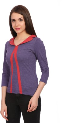Legona Casual, Party, Formal 3/4 Sleeve Solid Women's Light Blue, Red Top