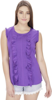 Pops N Pearls Casual Sleeveless Solid Women's Purple Top