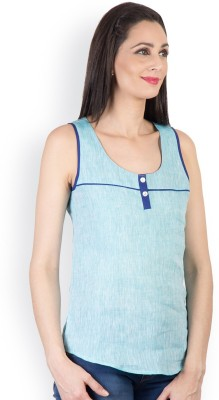 Tops and Tunics Casual Sleeveless Solid Women's Light Blue Top at flipkart