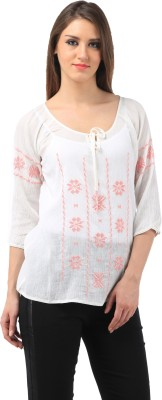 Chic Crowd Casual 3/4 Sleeve Solid Women's White, Pink Top