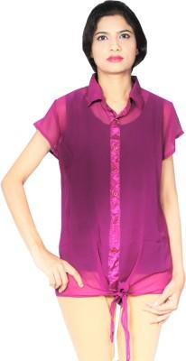 matarani Casual Short Sleeve Solid Women's Purple Top