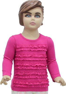 Urban Forest Casual Full Sleeve Solid Girl,s Pink Top