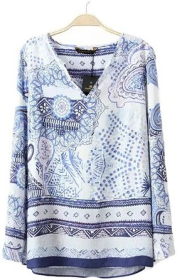 Gifts & Arts Casual Full Sleeve Floral Print Women,s White, Blue Top