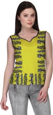 Avya Casual Sleeveless Floral Print Women's Yellow Top