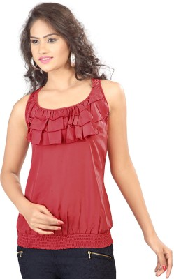SFDS Festive, Formal, Party Sleeveless Solid Women's Red Top