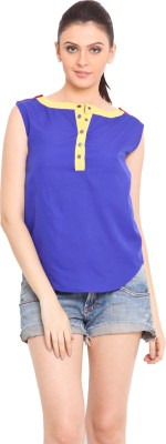 Trend Arrest Casual Sleeveless Solid Women's Blue Top