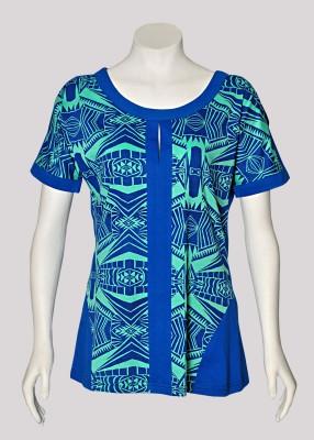 Akfa Casual Short Sleeve Printed Women's Light Green, Dark Blue Top