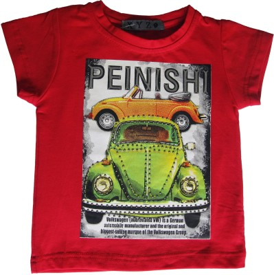 OneLook Printed Boy's Round Neck Red T-Shirt