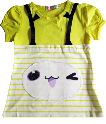 OneLook Casual, Beach Wear Short Sleeve Printed Girl's Yellow, White Top