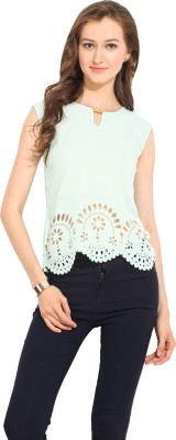 Albely Casual Sleeveless Solid Women's Green Top